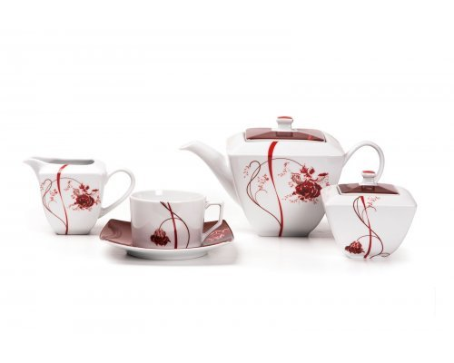 Tunisie Porcelaine Kyoto Noblesse Roug 0753 чайный сервиз на 6 персон 15 предметов