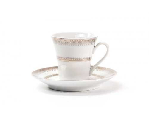 Набор чайных пар на 6 персон Tunisie Porcelaine Princier Platin 1801
