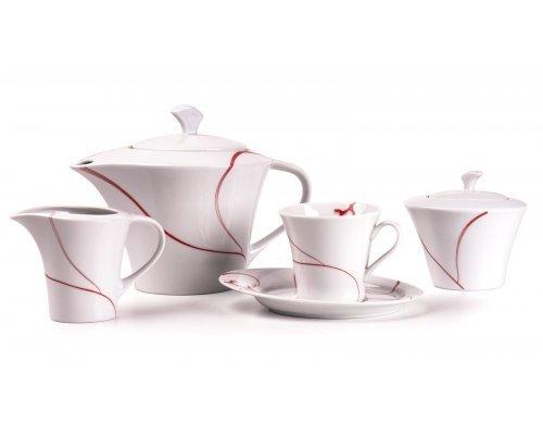 Tunisie Porcelaine Feuille Corail 544 чайный сервиз на 6 персон 15 предметов