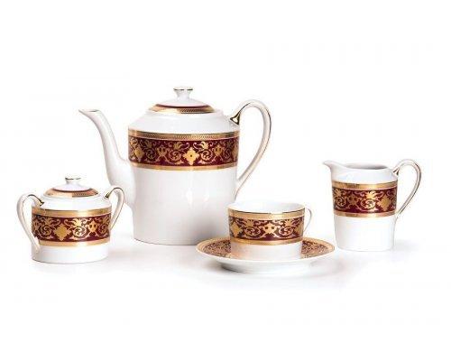 Tunisie Porcelaine Mimosa Ramses Bordeaux 631 чайный сервиз на 6 персон 15 предметов