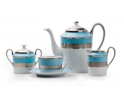 Tunisie Porcelaine Mimosa Monaco Bleu Turquoise 1626 чайный сервиз на 6 персон 15 предметов