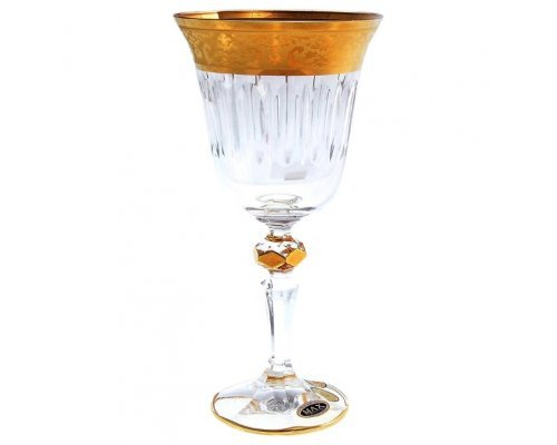 Набор бокалов для вина 220 мл Max Crystal Золото Bohemia (Богемия) (6 шт)