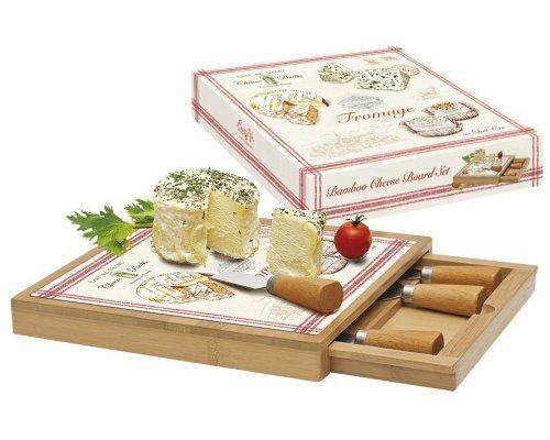 Набор для сыра: доска, выдвижной ящик с 4-мя ножами, бамбук/стекло FROMAGE в подарочной упаковке