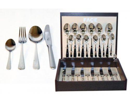 Набор столовых приборов 24 предмета на 6 персон Face Vilnius в деревянной коробке.