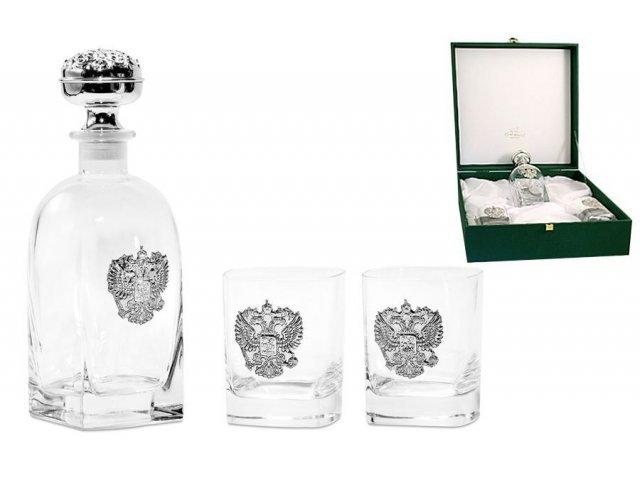 Набор для виски Gamma: штоф и 2 бокала Россия (серебро)