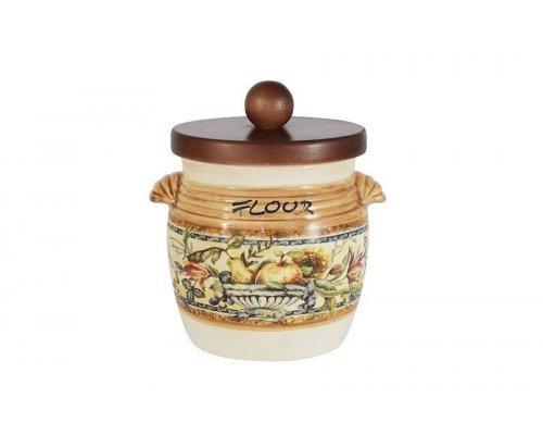 Банка для сыпучих продуктов с деревянной крышкой (мука) Старая Тоскана LCS