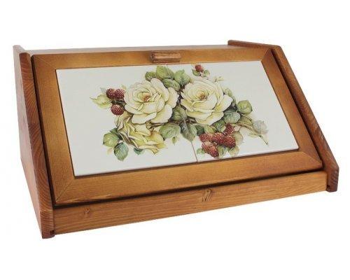 Деревянная хлебница с керамическими вставками LCS Роза и малина