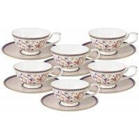 Набор 12 предметов Emily Королева Анна: 6 чашек+ 6 блюдец