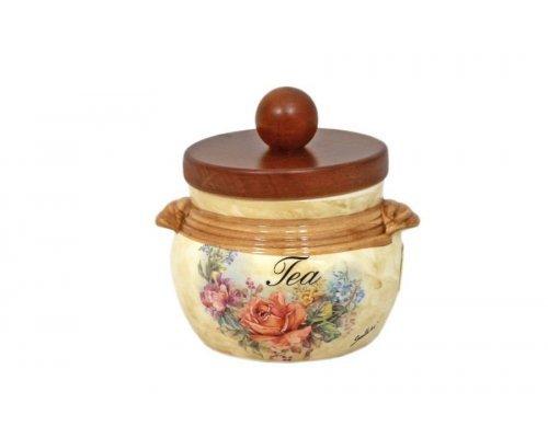 Банка для сыпучих продуктов с деревянной крышкой (чай) Элианто LCS