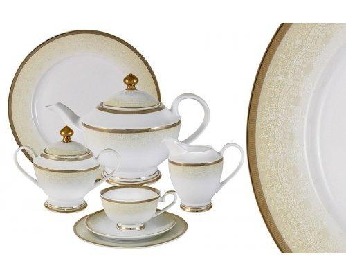 Чайный сервиз Midori Вуаль кремовая 42 предмета на 12 персон