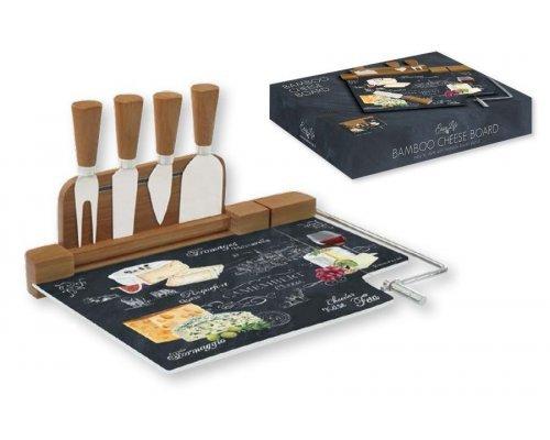 Набор для сыра: разделочная доска (стекло) + 4 ножа Мир сыров R2S