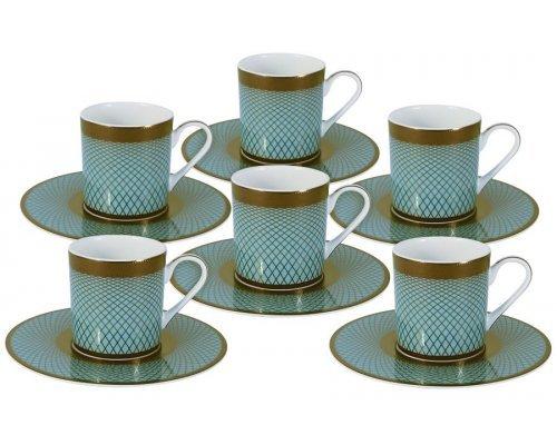 Кофейный набор Бирюза Naomi: 6 чашек + 6 блюдец