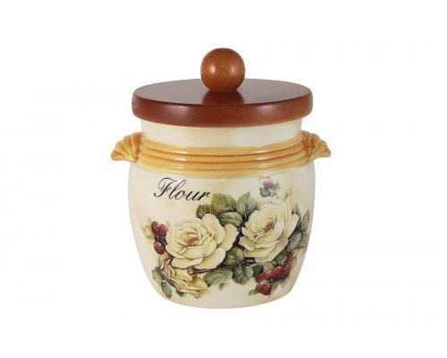 Банка для сыпучих продуктов с деревянной крышкой (мука) LCS Роза и малина