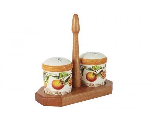 Набор для специй: солонка и перечница на подставке Апельсины LCS