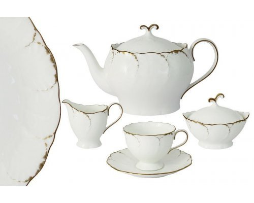 Чайный сервиз из 17 предметов на 6 персон Narumi Белый с золотом