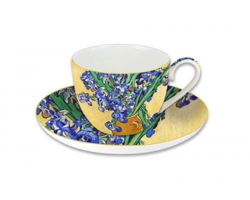 Чашка с блюдцем Carmani Ирисы (Ван Гог), в подарочной упаковке