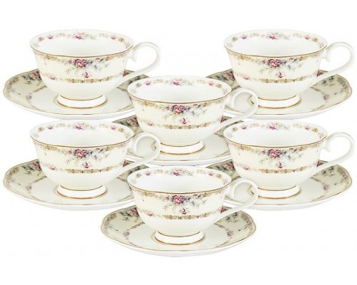 Набор 12 предметов Сан Марино Emily: 6 чашек + 6 блюдец