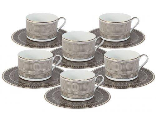Чайный набор Мокко Naomi: 6 чашек + 6 блюдец