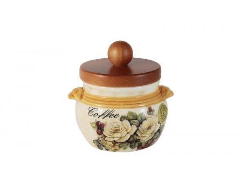 Банка для сыпучих продуктов с деревянной крышкой (кофе) LCS Роза и малина