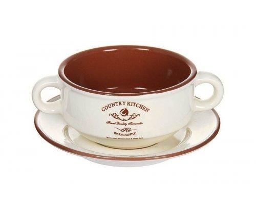 Суповая чашка на блюдце Кухня в стиле Кантри Terracotta