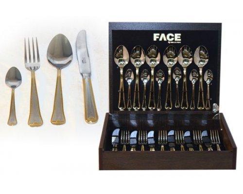Набор столовых приборов 24 предмета на 6 персон Face Falperra Gold в деревянной коробке.