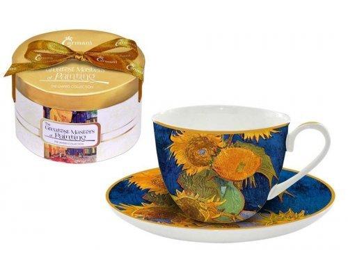Чашка с блюдцем Carmani Подсолнухи (Ван Гог)