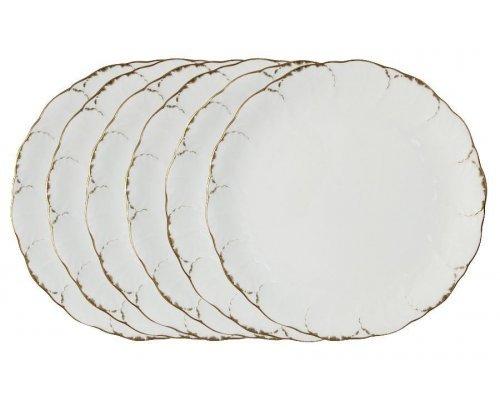 Набор из 6 обеденных тарелок Narumi Белый с золотом