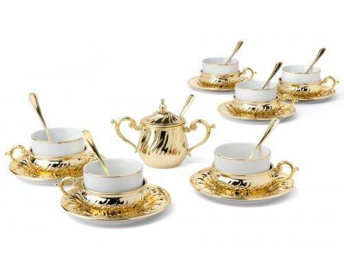 Чайный набор на 6 персон Gamma Stradivari с отделкой под золото в подарочной коробке