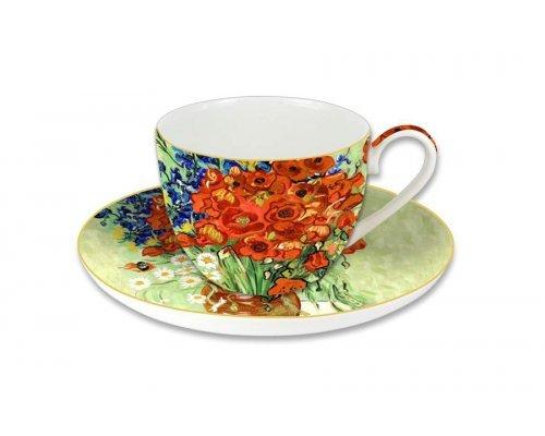 Чашка с блюдцем Carmani Натюрморт с красными маками и ромашками (Ван Гог), в подарочной упаковке