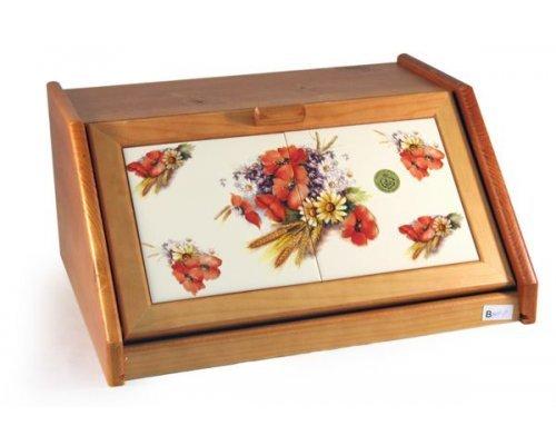 Деревянная хлебница с керамическими вставками Маковый луг LCS
