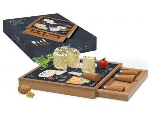 Набор для сыра: разделочная доска + 4 ножа Мир сыров R2S