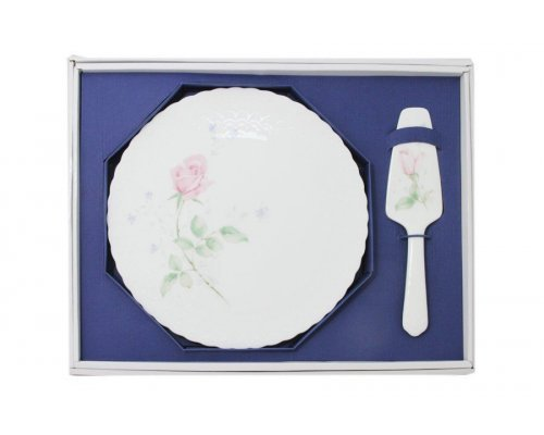 Набор для торта: блюдо + лопатка Апрельская роза Narumi