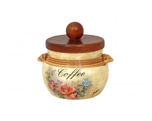 Банка для сыпучих продуктов с деревянной крышкой (кофе) Элианто LCS