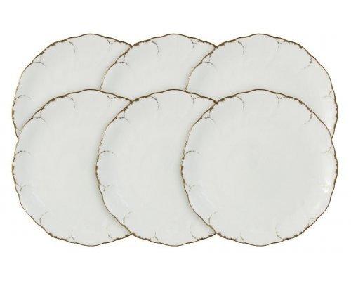Набор из 6 закусочных тарелок Narumi Белый с золотом
