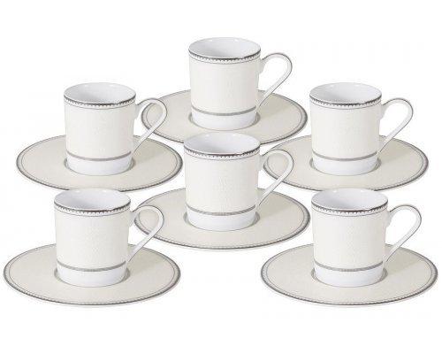 Кофейный набор Naomi Жемчуг: 6 чашек + 6 блюдец
