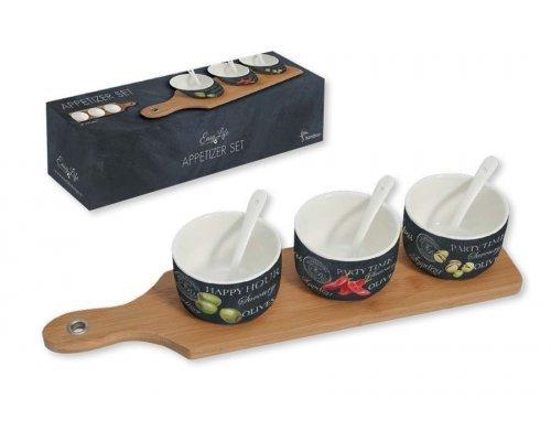 Набор для закуски R2S: 3 чаши (8см) с ложками, поднос