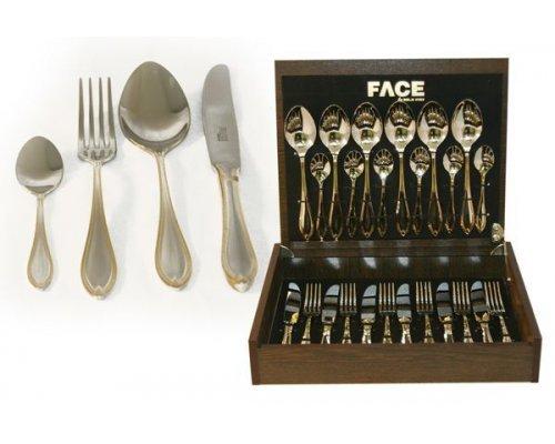 Набор столовых приборов 24 предмета на 6 персон Face Geneva в деревянной коробке.