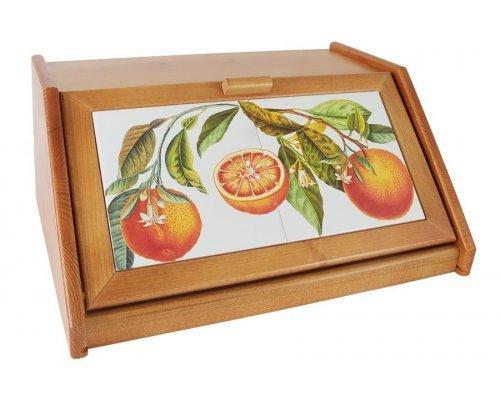 Деревянная хлебница с керамическими вставками Апельсины LCS