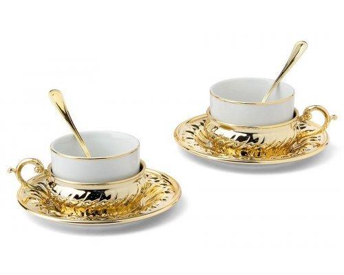 Чайный набор на 2 персоны Gamma Stradivari с отделкой под золото в подарочной коробке