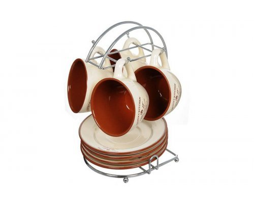 Чайный набор на металлической подставке Кухня в стиле Кантри Terracotta