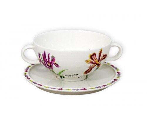 Суповая чашка на блюдце Ирисы IMARI