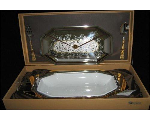 Блюдо для горячего с крышкой и фарфоровой вставкой с вилкой и ложкой Dubai Gold Giorinox