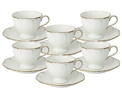 Набор: 6 чашек + 6 блюдец Narumi Белый с золотом