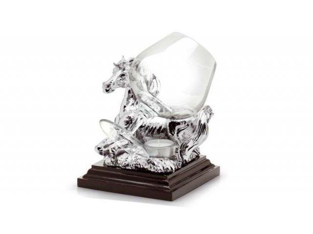 Бокал для коньяка с подогревателем Gamma Лошадь (серебро)