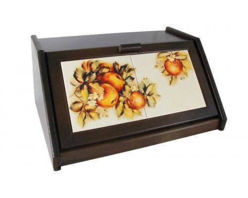 Деревянная хлебница с керамическими вставками LCS Зимние яблоки