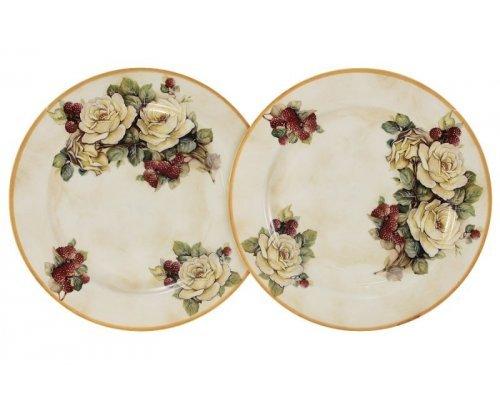 Набор из 2-х десертных тарелок LCS Роза и малина