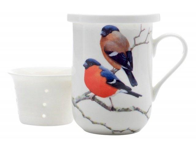 Кружка с ситечком и крышкой Maxwell & Williams Снегири в подарочной упаковке