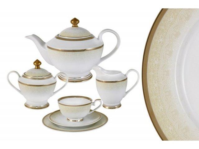 Чайный сервиз Midori Вуаль кремовая 23 предмета на 6 персон