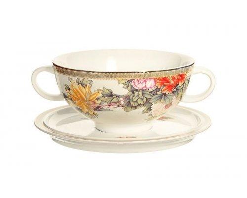 Суповая чашка на блюдце Японский сад IMARI