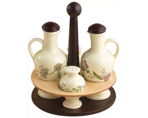 Набор для специй Прованс Nuova Ceramica s.n.c. на деревянной подставке: Д 195см. соль/перец/масло/уксус